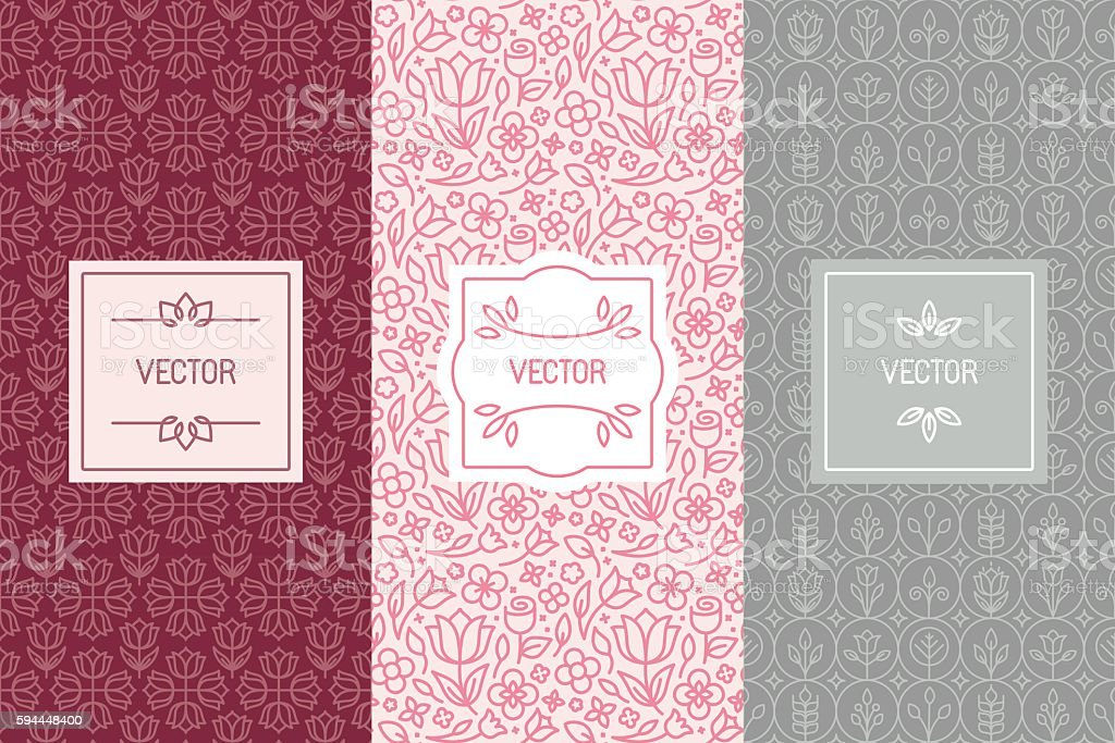Vector set of design elements for cosmetic packaging vector art illustration