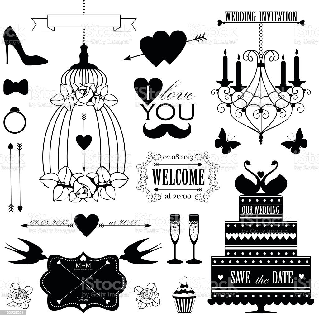 Vector set of design elements for wedding card royalty-free stock vector art