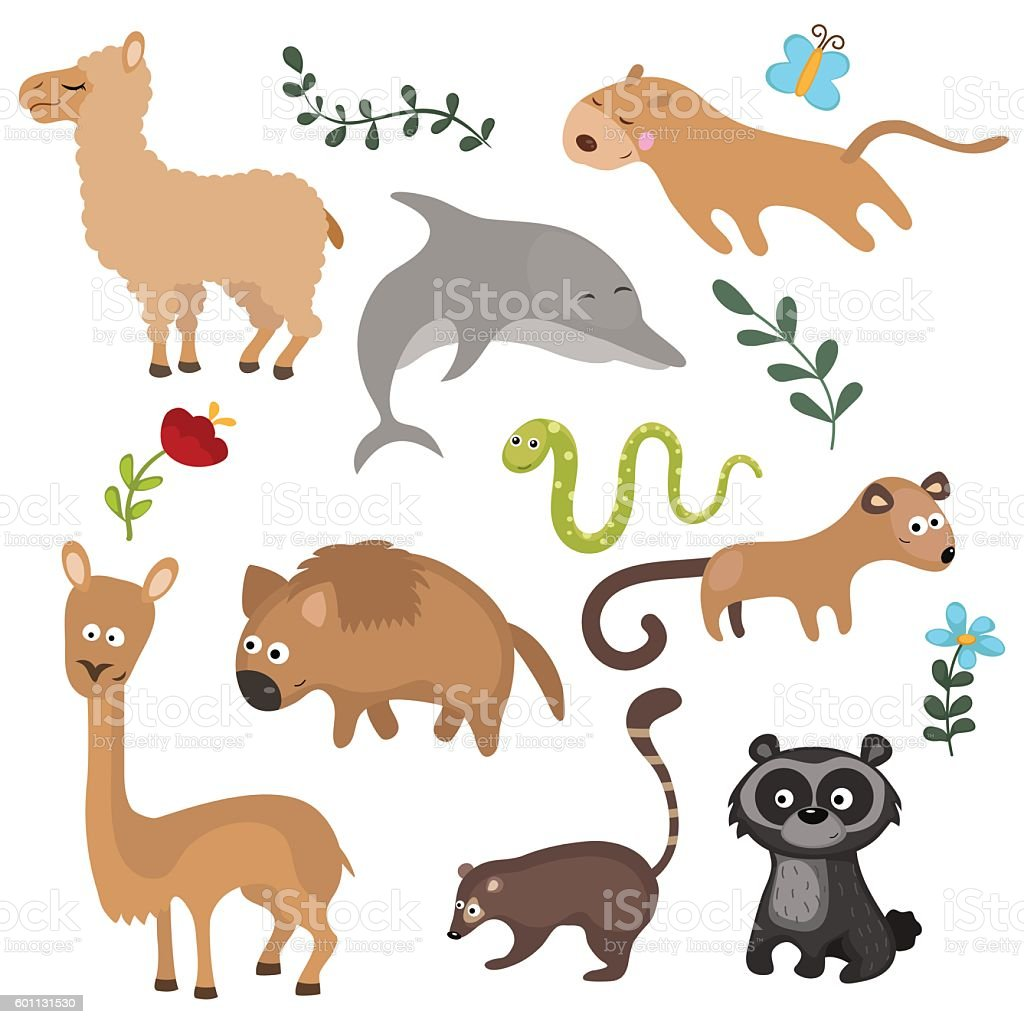 Vector set of different animals of South America. vector art illustration