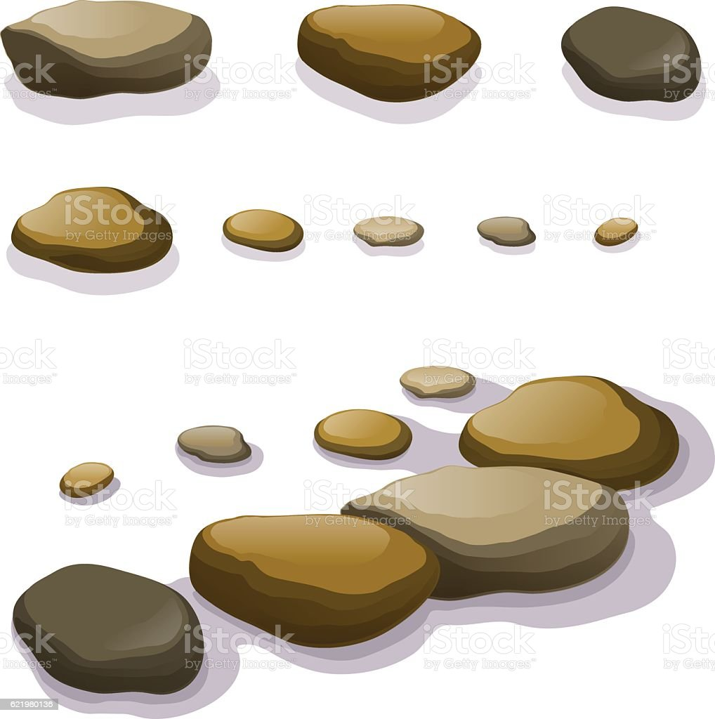 Vector set of different boulders and stones isolated vector art illustration