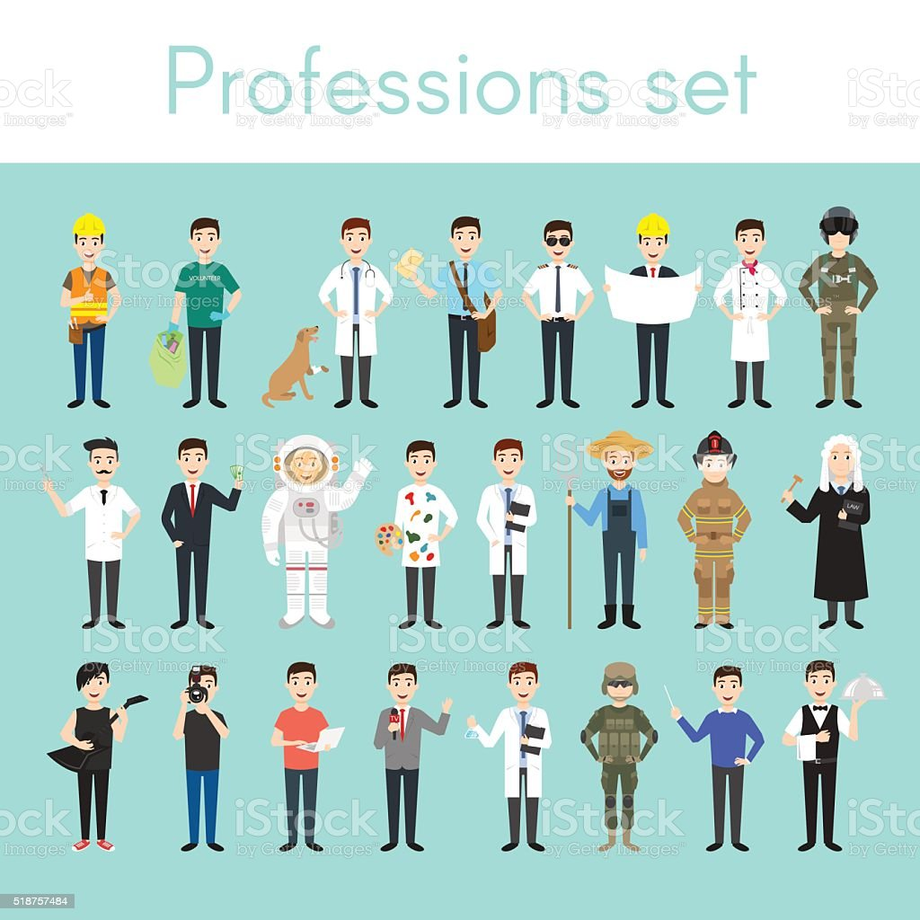Vector set of different colorful man professions. vector art illustration