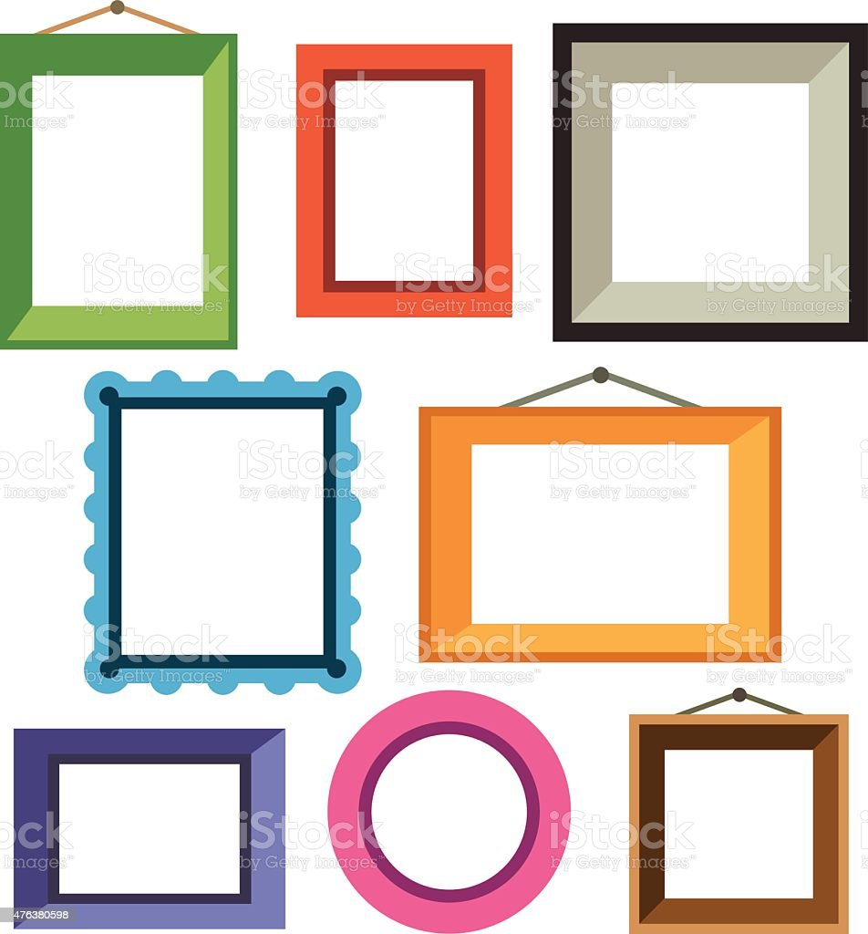 Vector set of different colorful photo frames vector art illustration