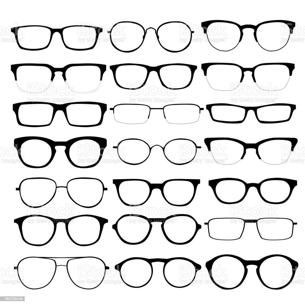Vector set of different glasses on white background vector art illustration
