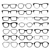 Vector set of different glasses on white background