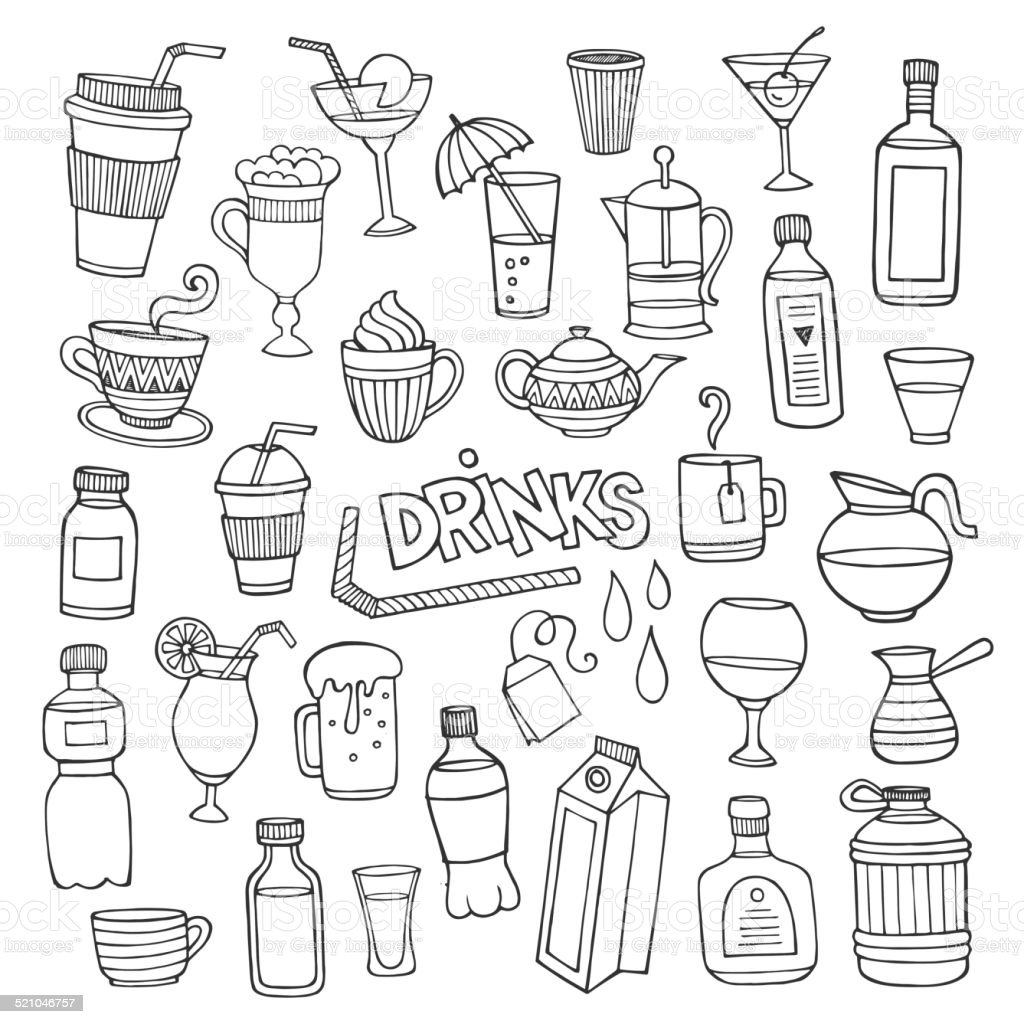 Vector set of different hand drawn beverages vector art illustration