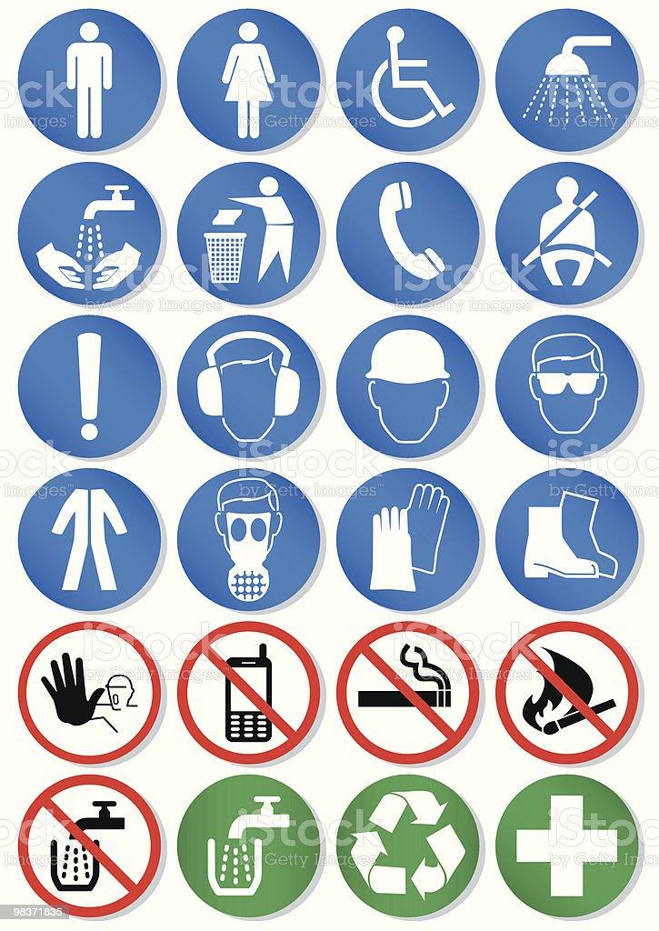 Vector set of different international communication signs vector art illustration