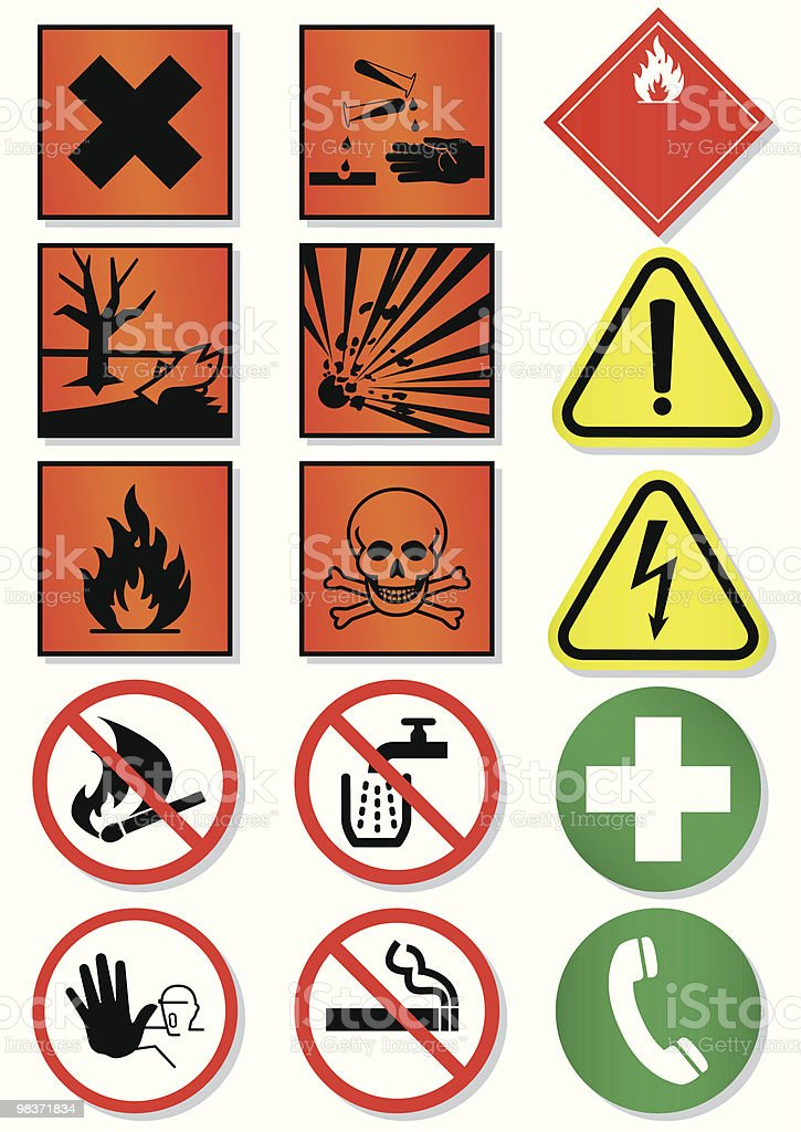 Vector set of different international signs, laboratory associated vector art illustration