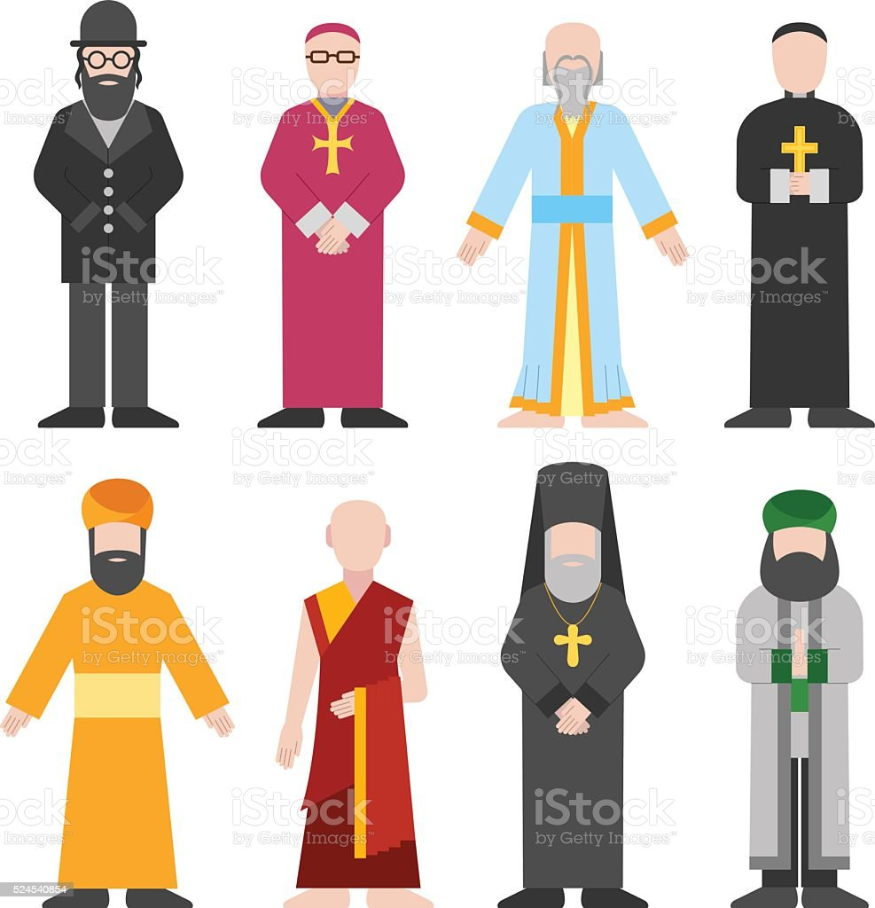 Vector set of different religion people confession man vector art illustration