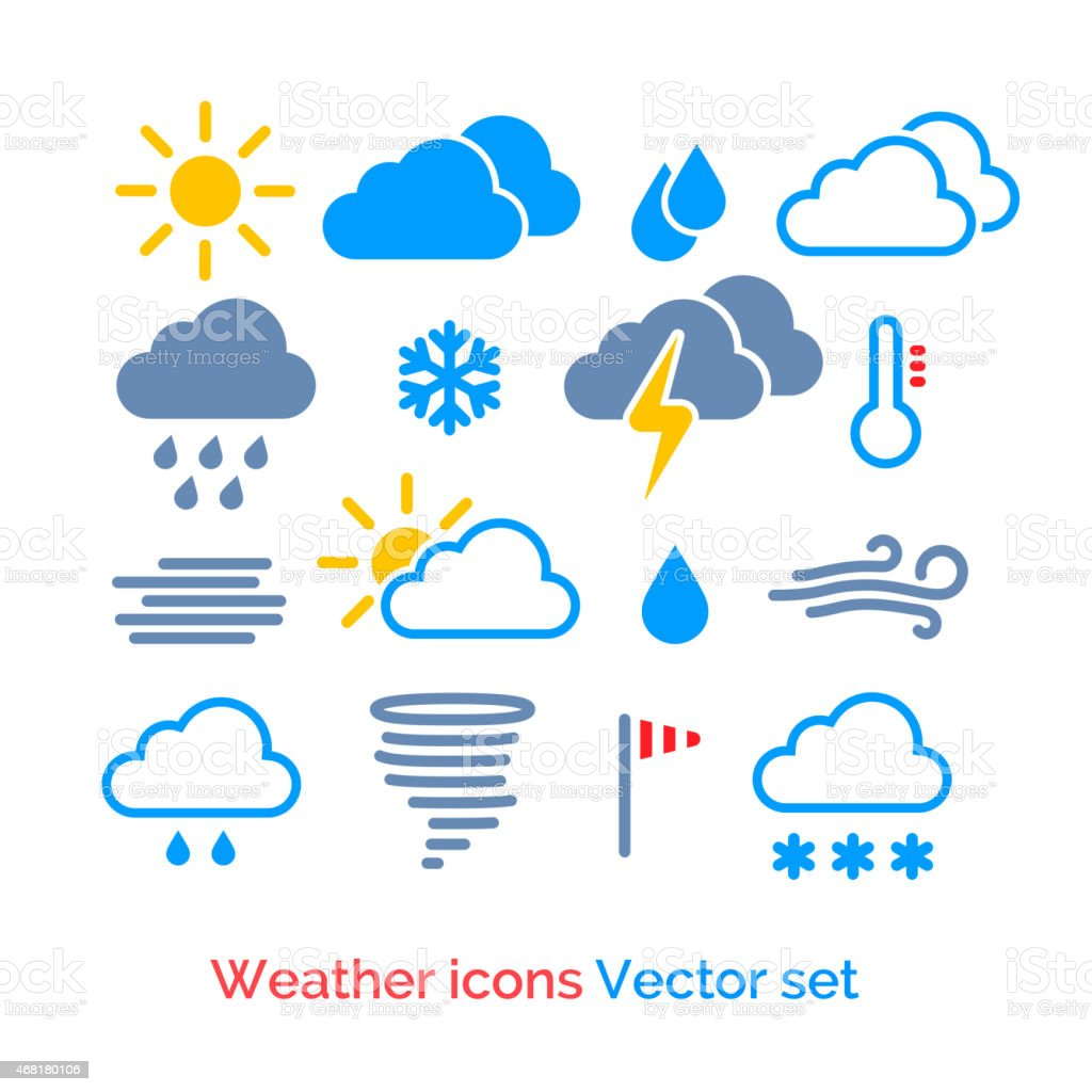 Vector set of different weather icons vector art illustration