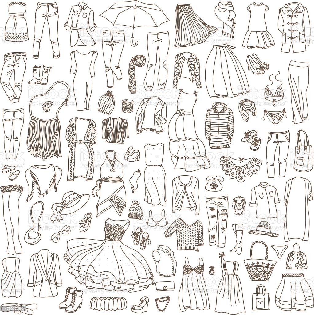 Vector set of different women's clothes and accessories vector art illustration