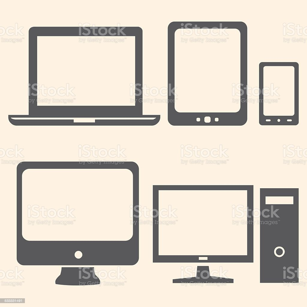 Vector Set of Digital Devices Icons. Laptop, Tablet, Mobile, PC. vector art illustration