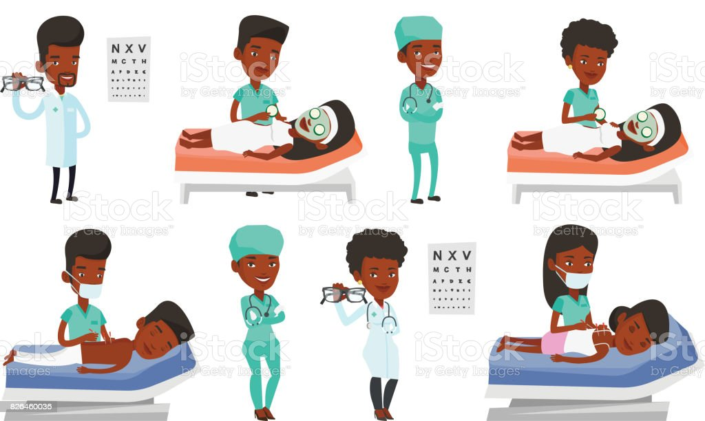 Vector set of doctor characters and patients vector art illustration