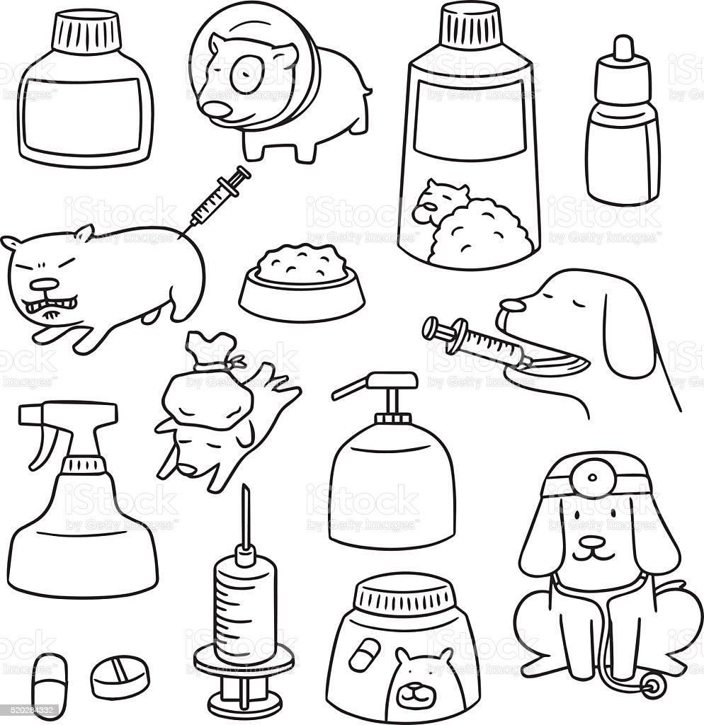 vector set of dog medicine vector art illustration