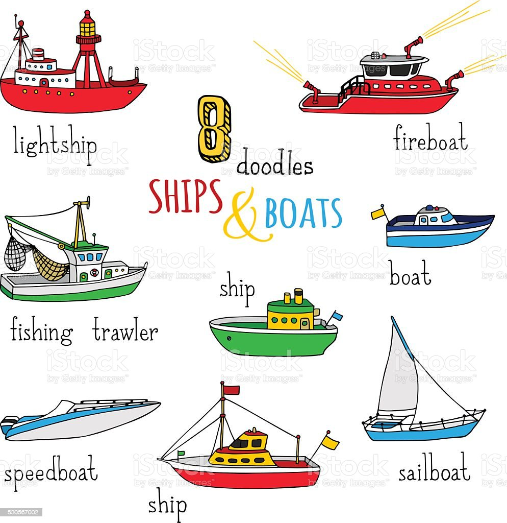 Vector set of doodles ships and boats. vector art illustration
