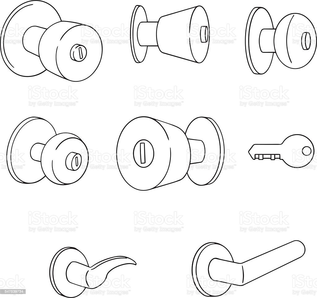 vector set of door knob vector art illustration