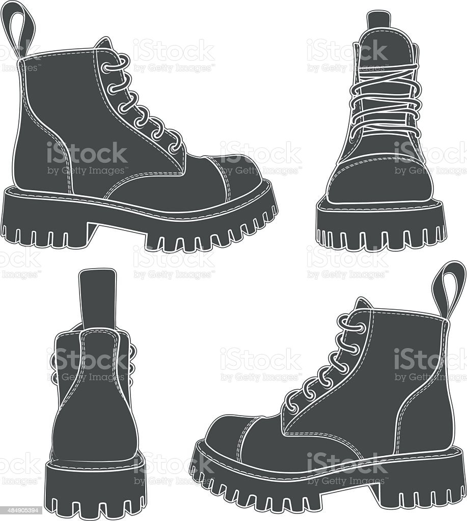 Vector set of drawings with boots. vector art illustration