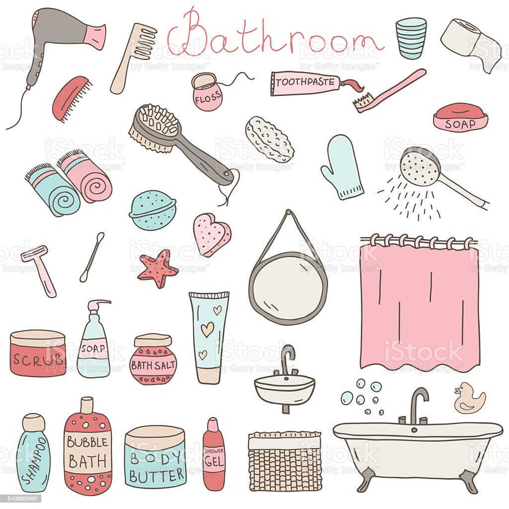 Vector set of drawn bathroom themed objects and appliences vector art illustration