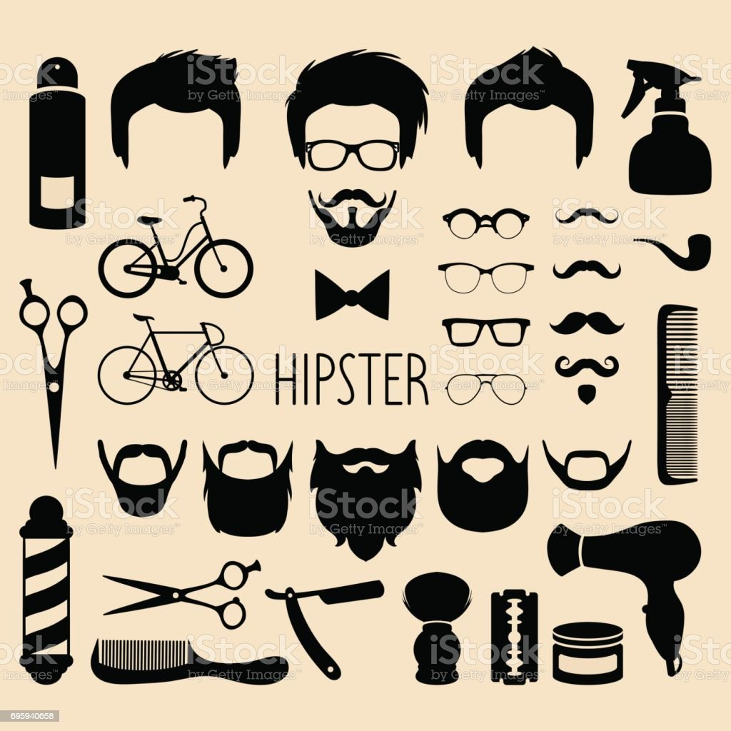 Dress up elements - Vector Set Of Dress Up With Men Hipster Haircuts Etc In Flat Style App
