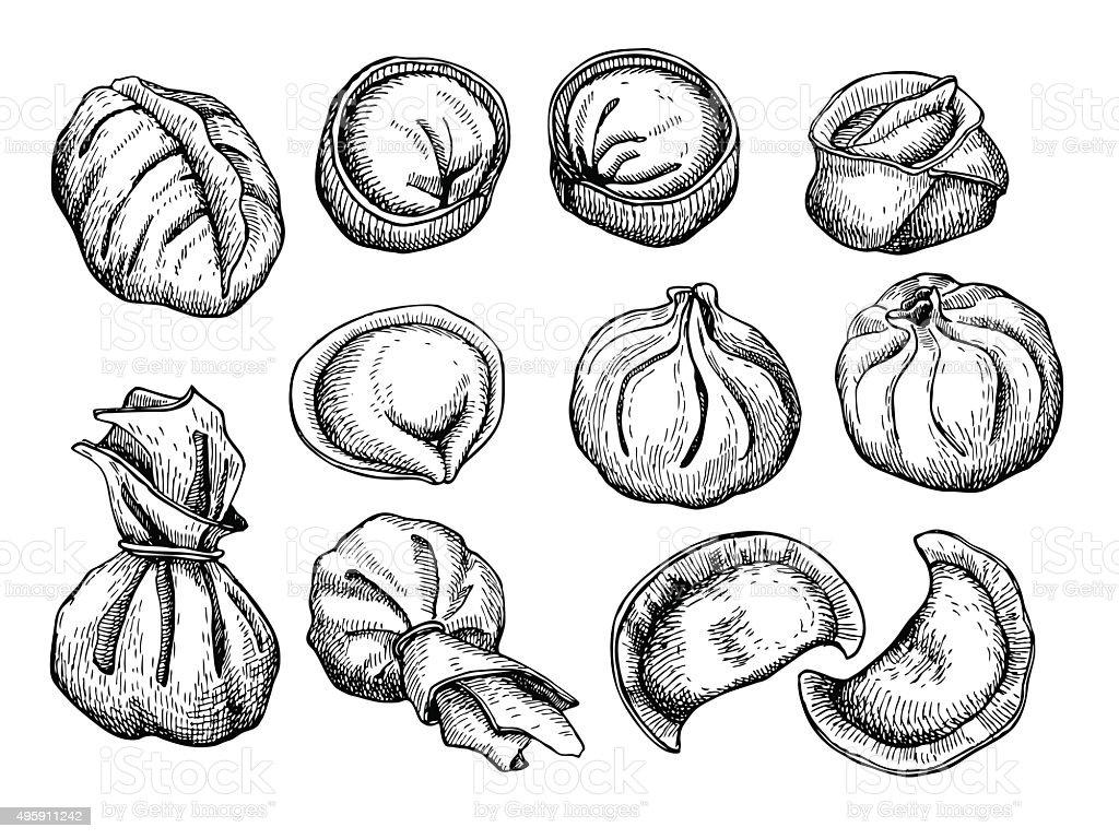 Vector set of dumplings. Vintage sketch illustration vector art illustration
