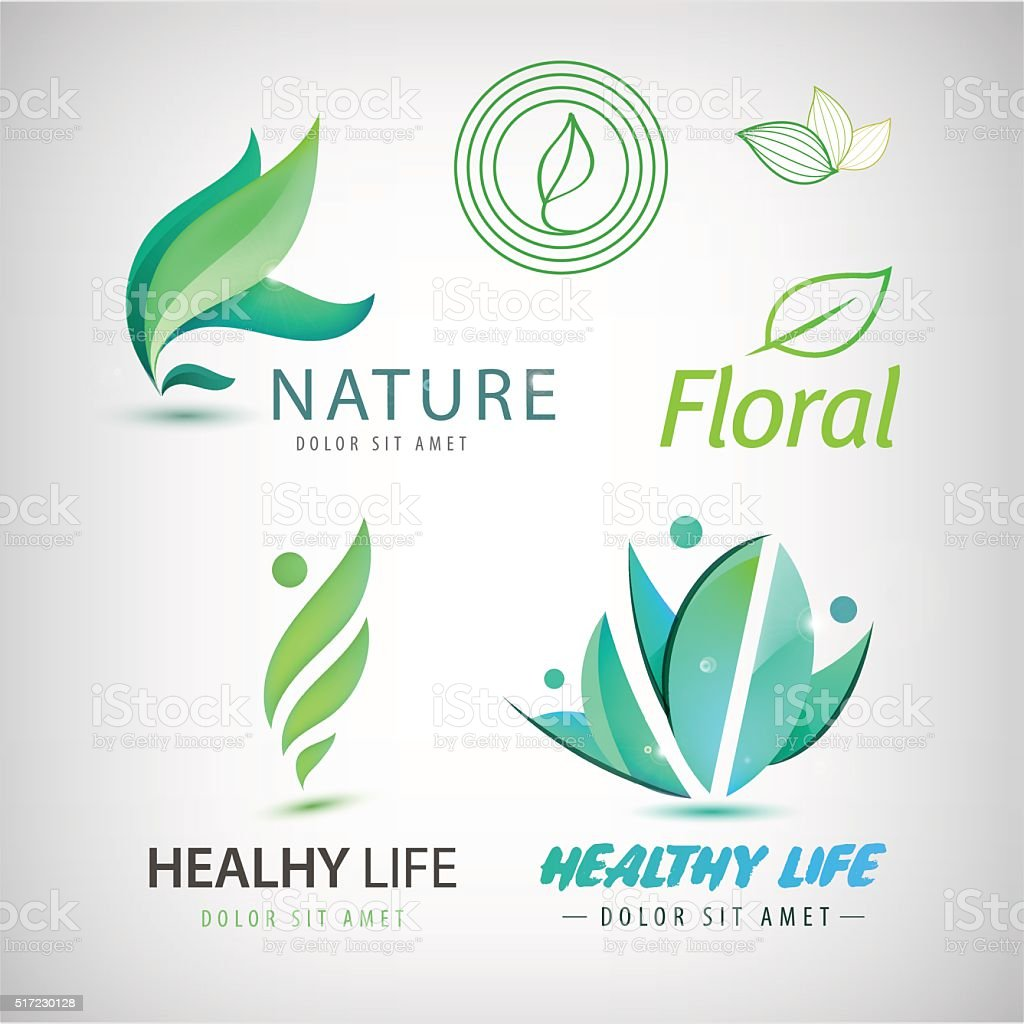 Vector set of eco icons, logos. Healthy man vector art illustration