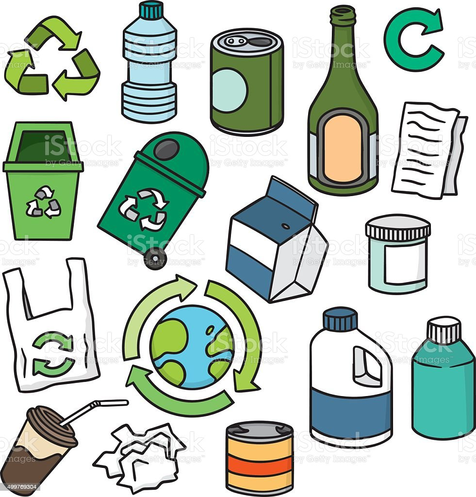 vector set of ecology and recycle icon vector art illustration
