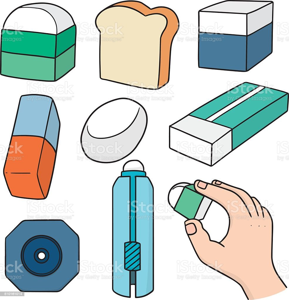 vector set of eraser vector art illustration