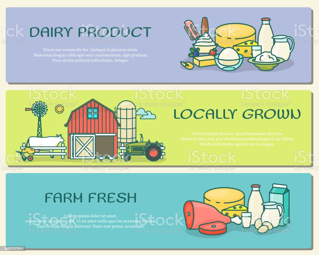 Vector set of farm horizontal banners in flat linear style vector art illustration