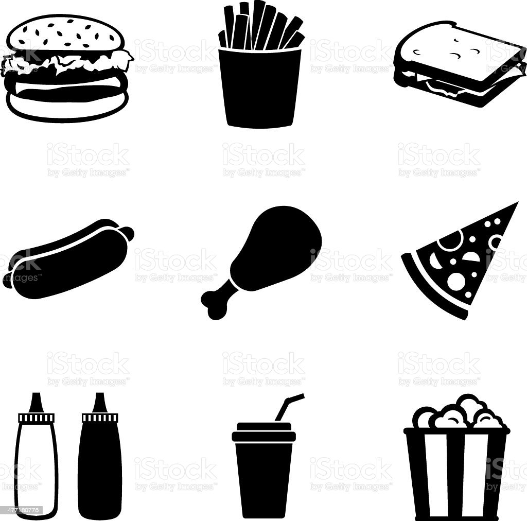 Vector Set of Fast Food Icons vector art illustration