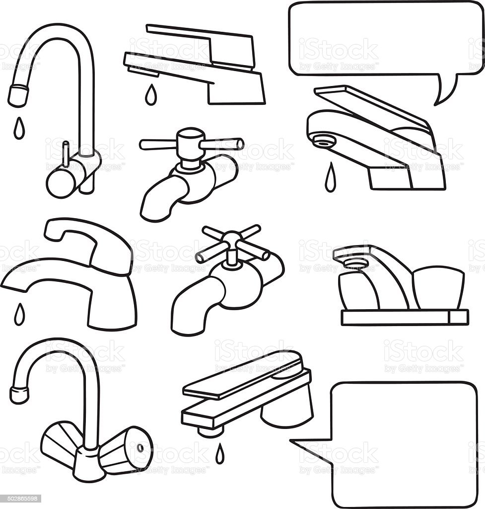 vector set of faucet vector art illustration