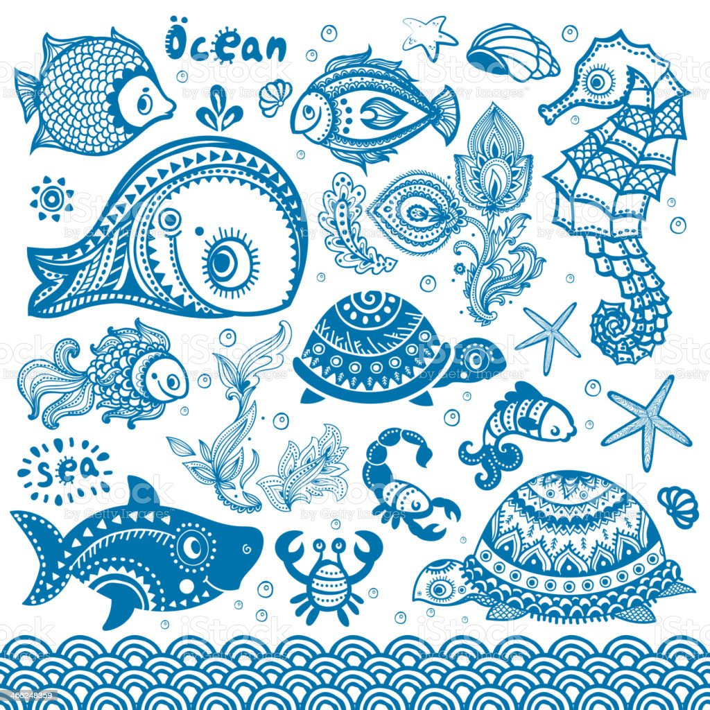 Vector set of fish and shells vector art illustration