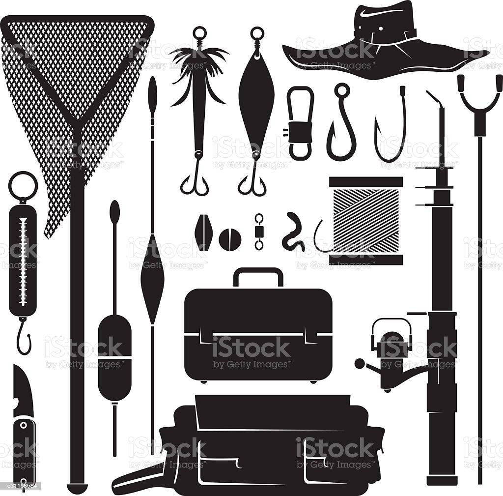 vector set of fishing supplies vector art illustration