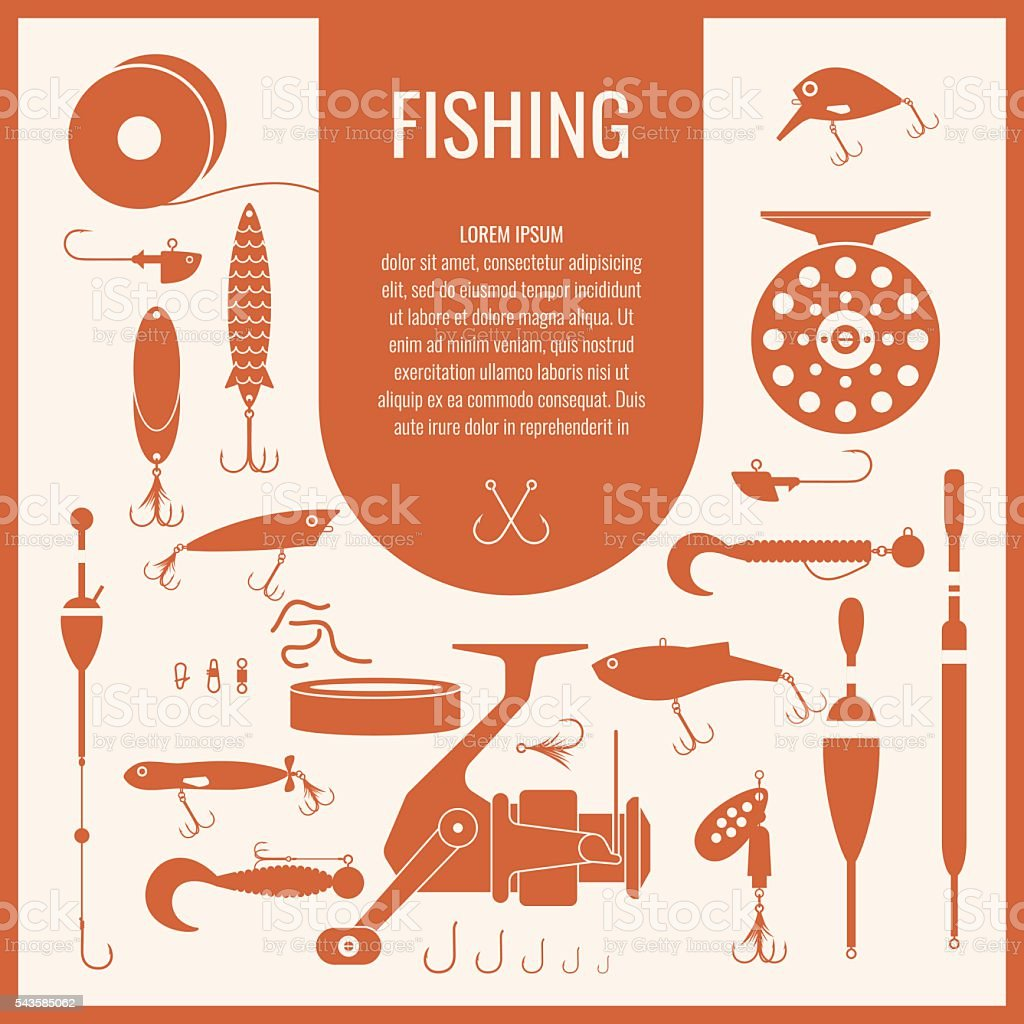 Vector set of Fishing tackle in flat silhouette style vector art illustration
