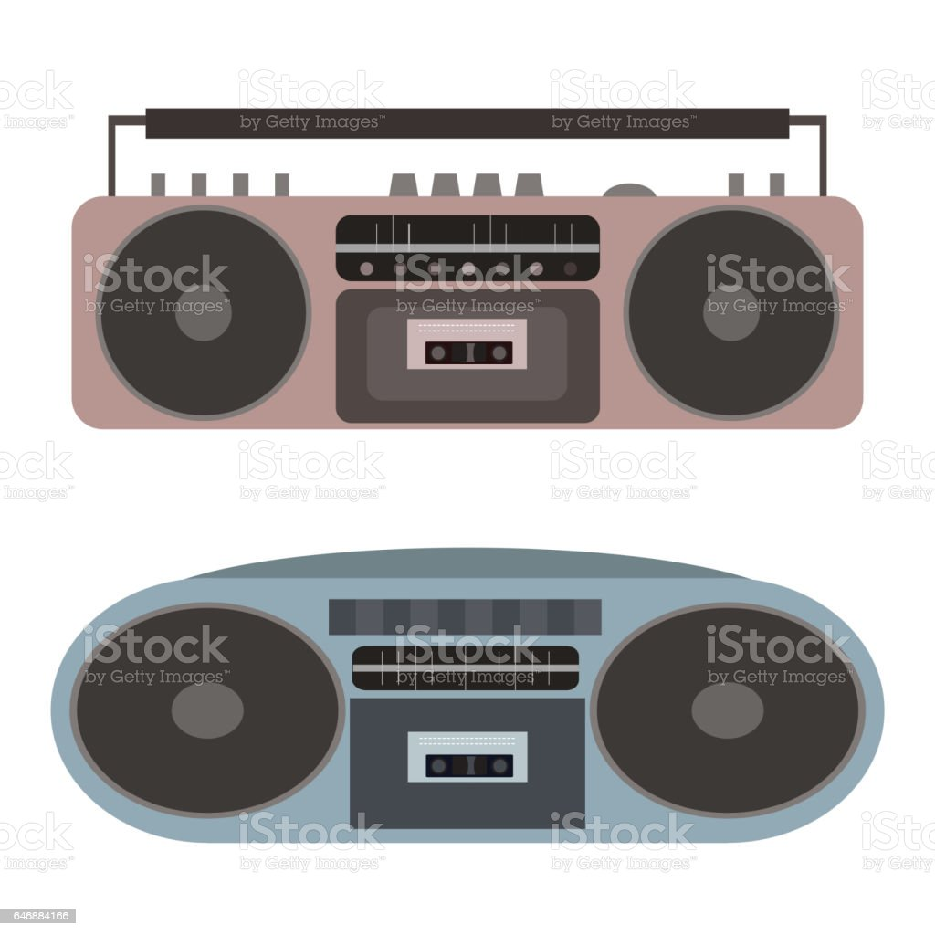 Vector set of flat cassette recorders. vector art illustration
