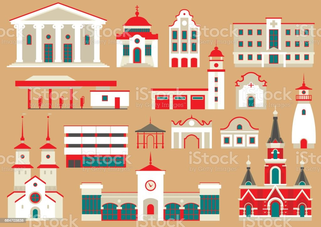 Vector set of flat city buildings to create and generate tourist map. vector art illustration