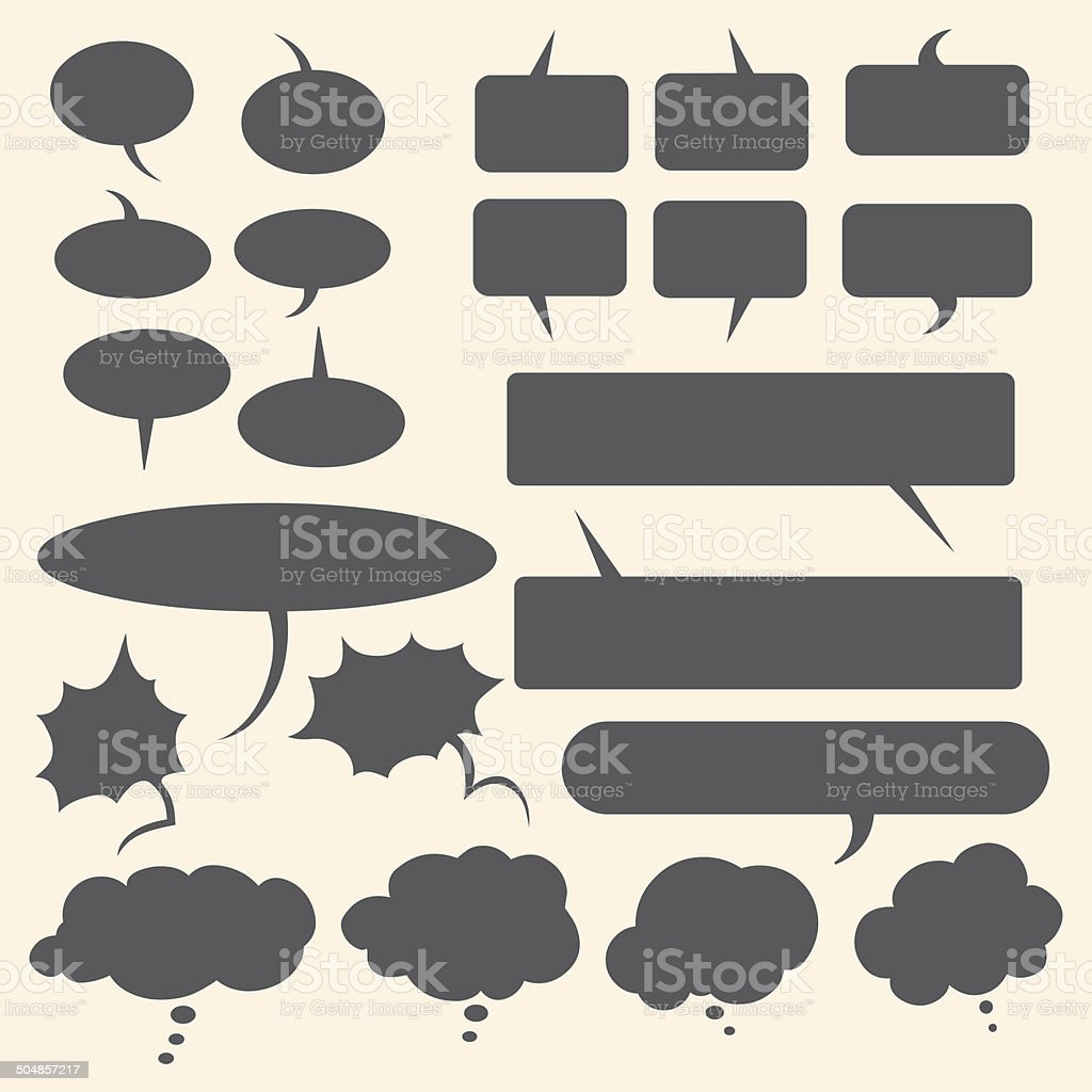Vector Set of Flat Comics  Bubbles. Talk and Think royalty-free stock vector art