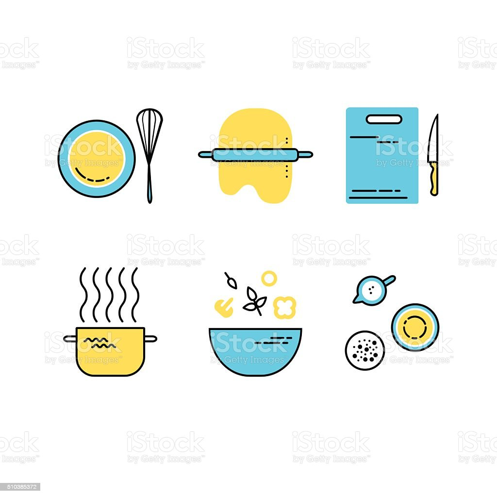 Vector set of flat line cooking icons vector art illustration