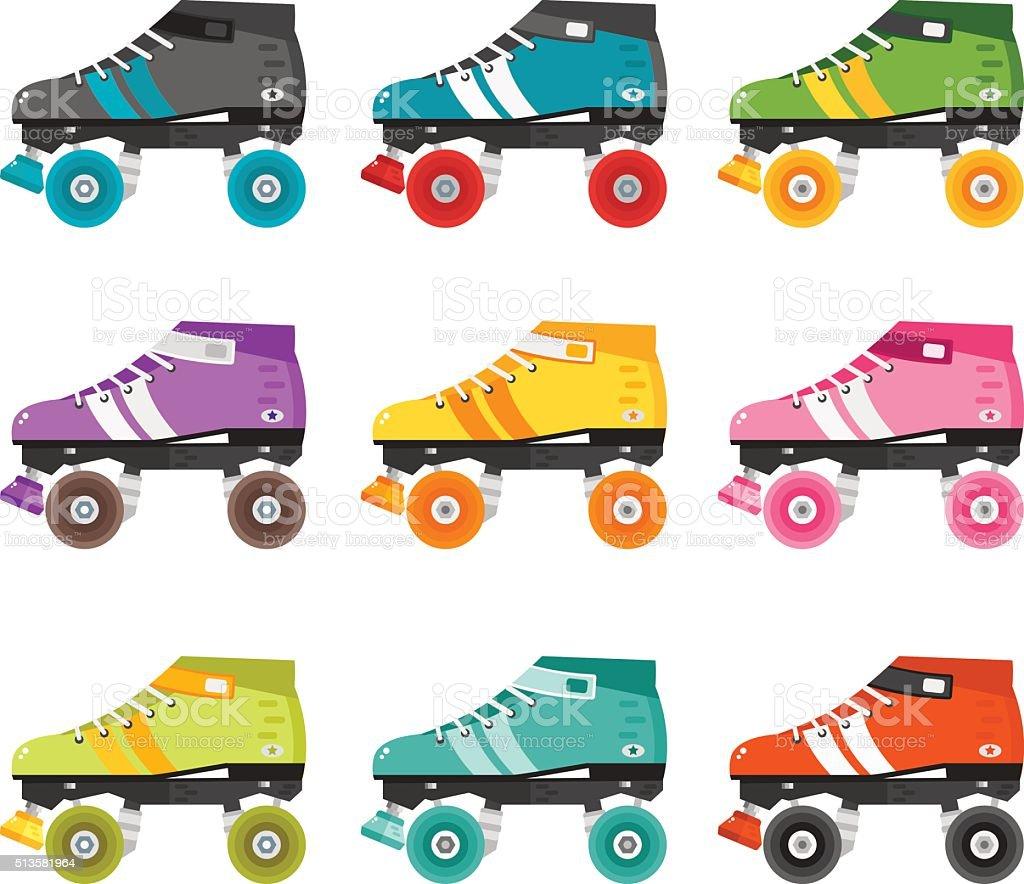 Vector set of flat quad roller skates. vector art illustration