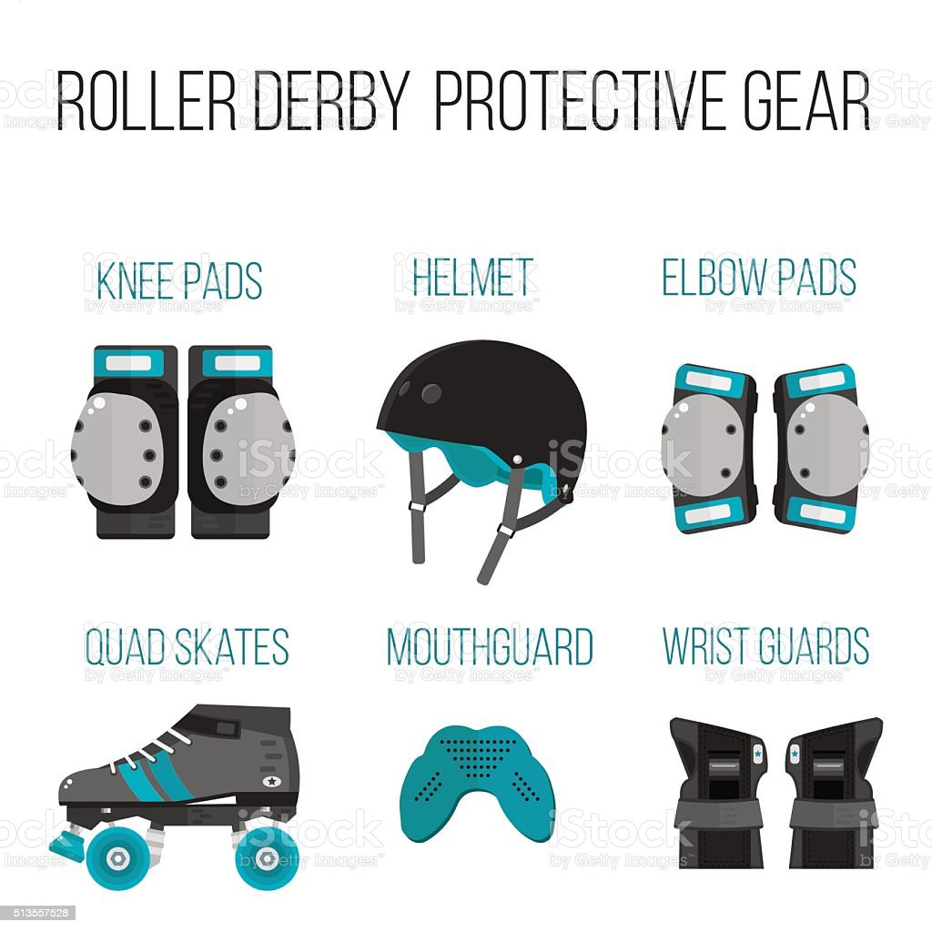 Vector set of flat roller derby protective gear vector art illustration