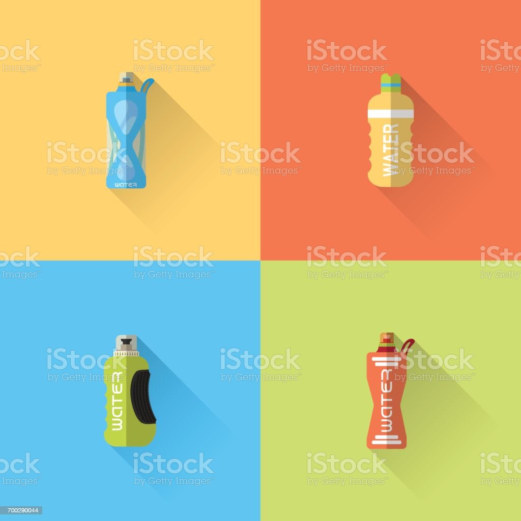 Vector set of flat sport bottles with long shadow on the color background. vector art illustration