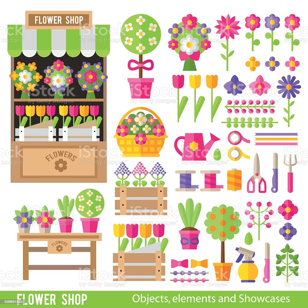 Vector set of flowers and florist tools in  flat style. vector art illustration