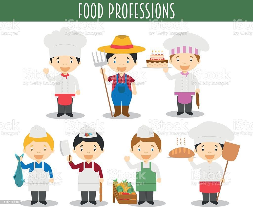Vector Set of Food Industry Professions in cartoon style vector art illustration