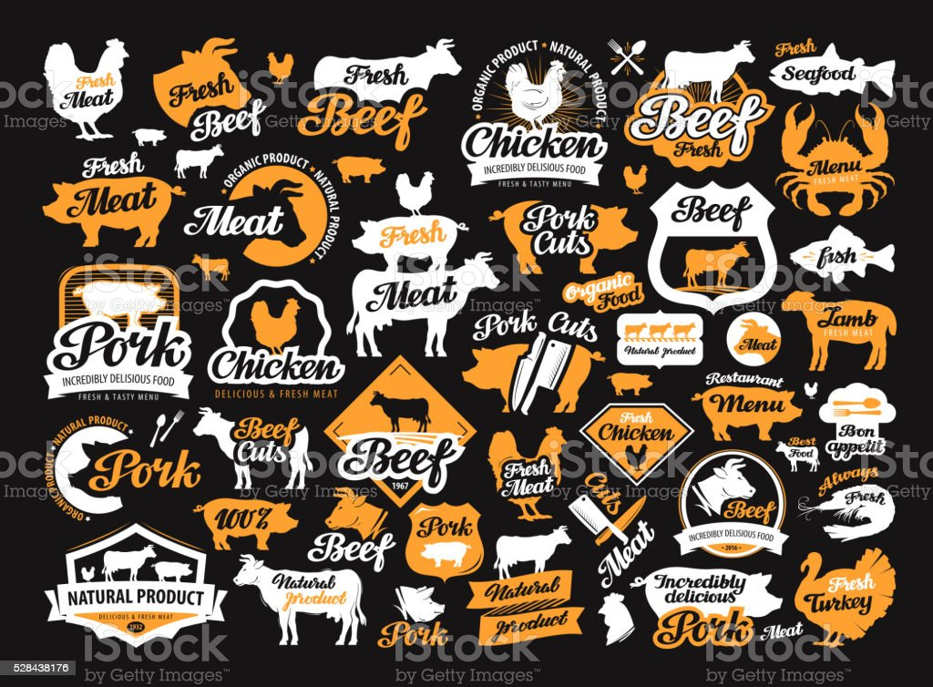 vector set of food, meat labels, logos, icons, design elements vector art illustration