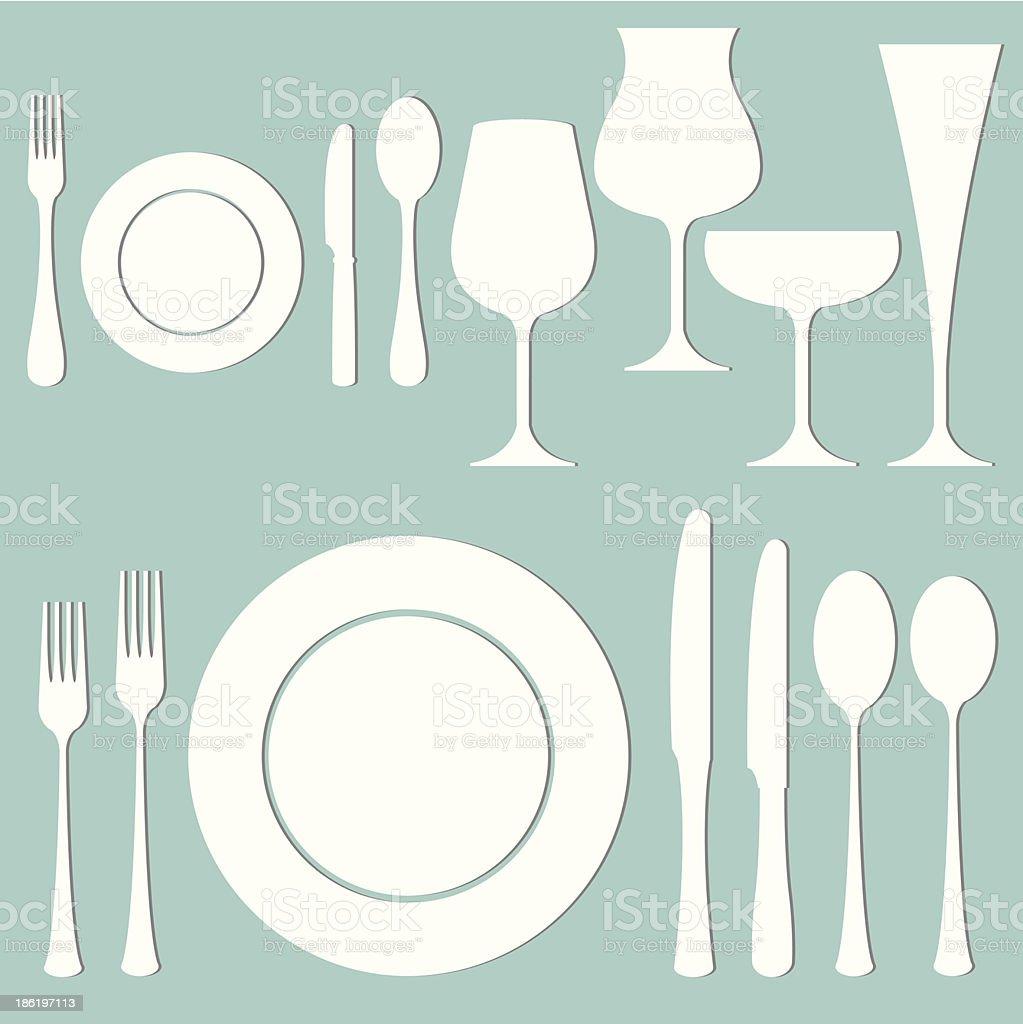 Vector set of formal dinner royalty-free stock vector art