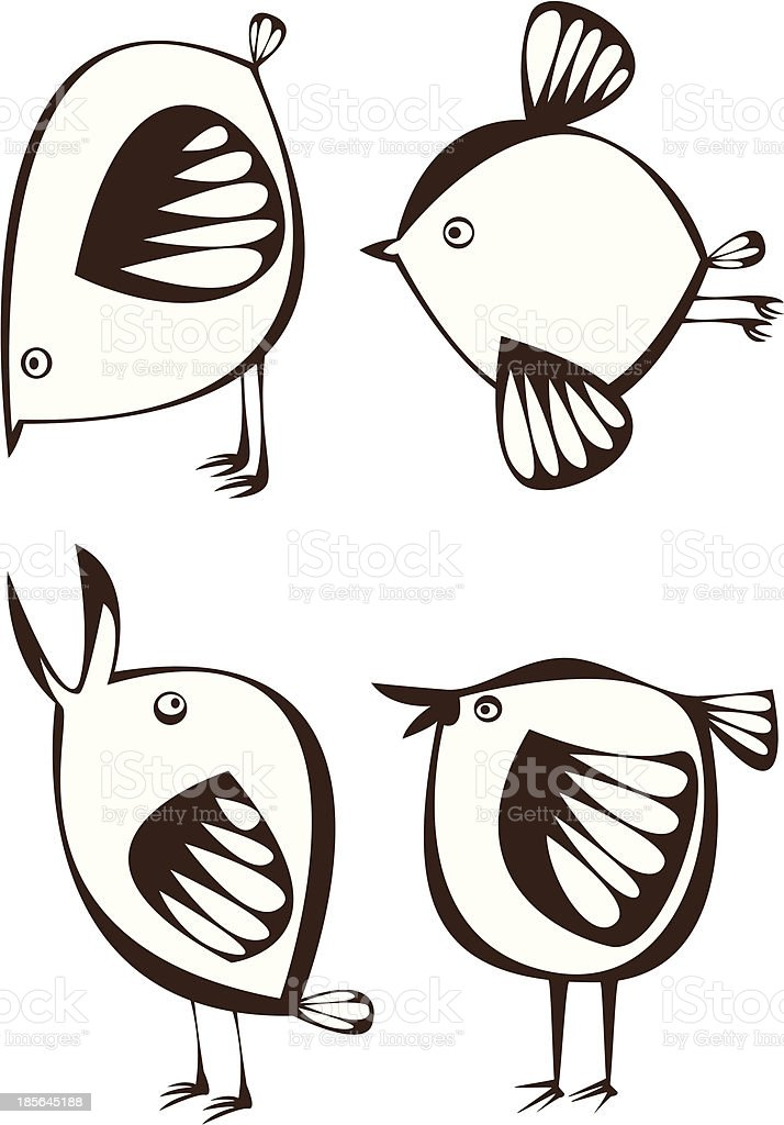 vector set of four graphic cartoon birds on white background royalty-free stock vector art
