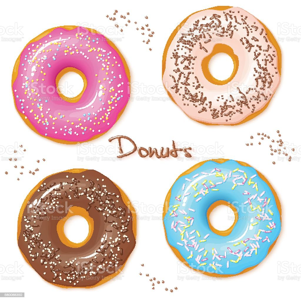 vector set of four sweet donuts top view vector art illustration