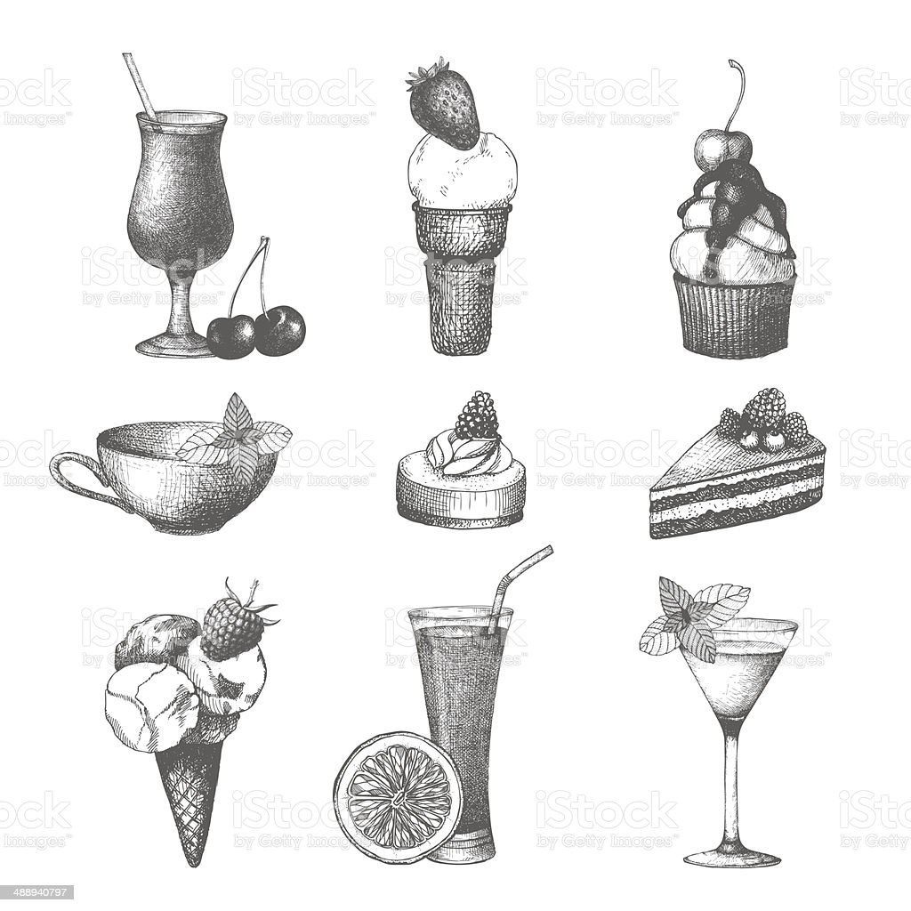Vector set of fruit cake, cocktails and ice cream vector art illustration