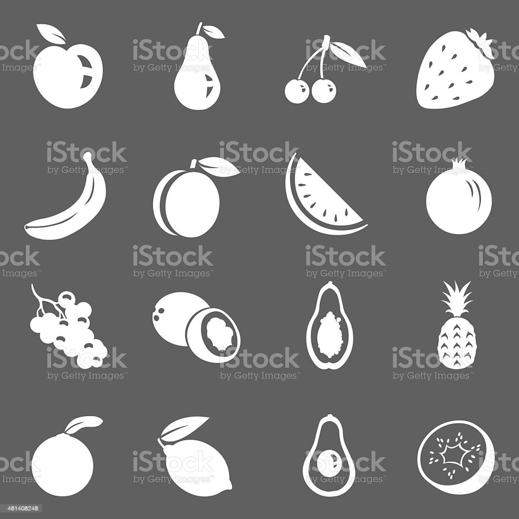Vector Set of Fruit Icons vector art illustration