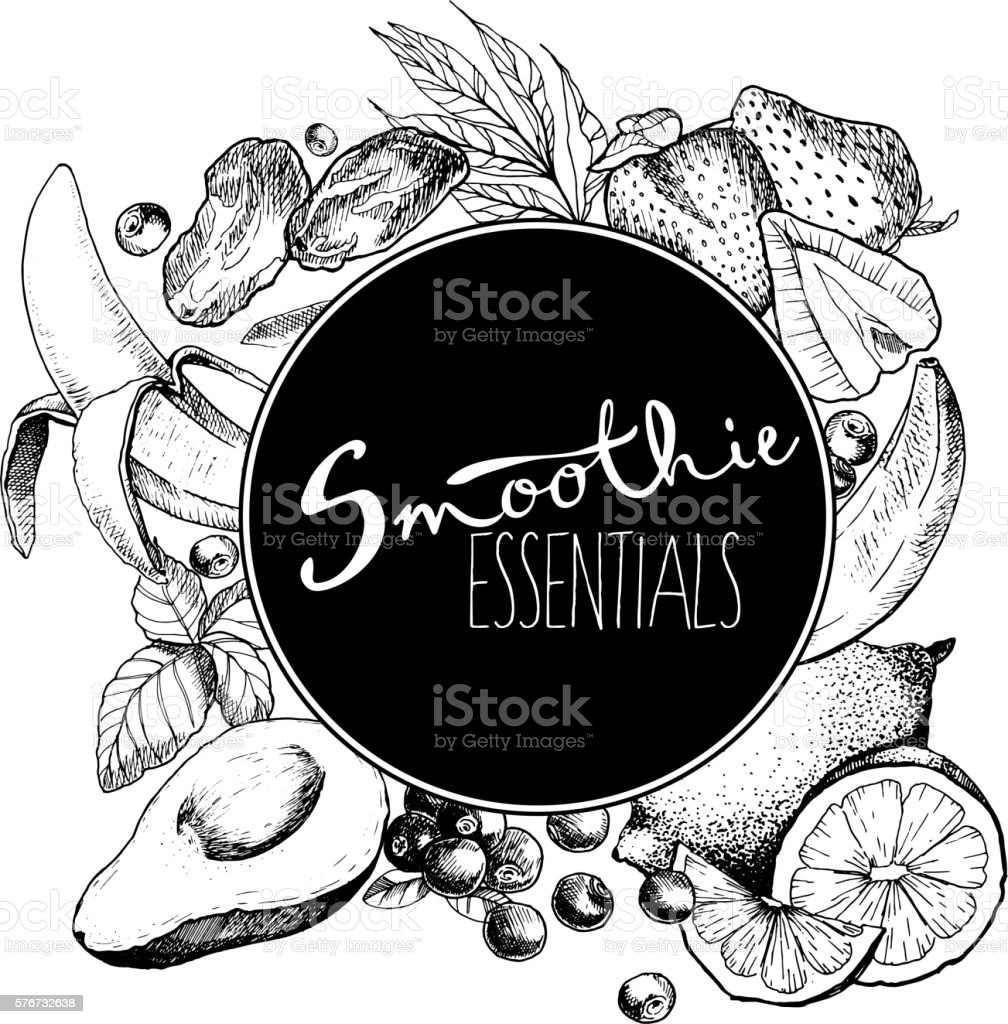 Vector set of fruits and vegetables for detoz smoothie. vector art illustration
