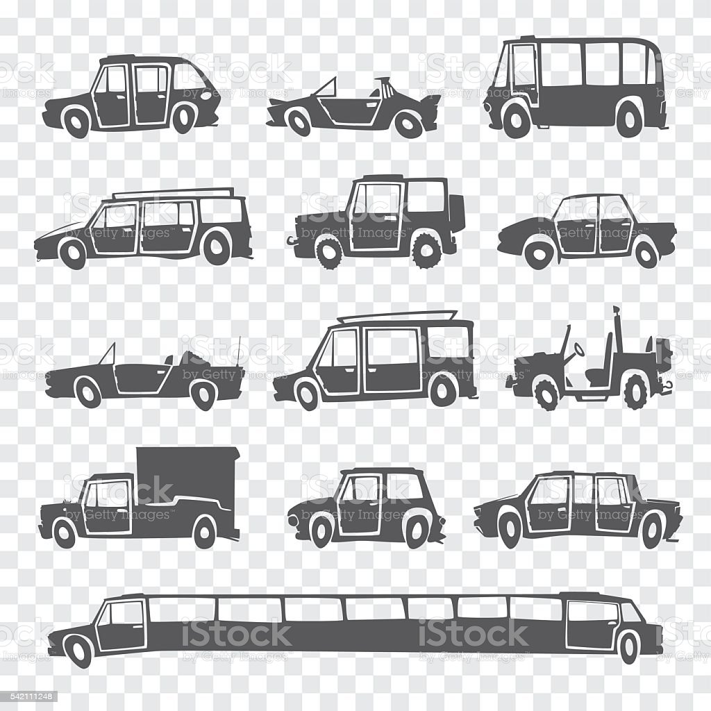 Vector set of funny cartoon car. vector art illustration