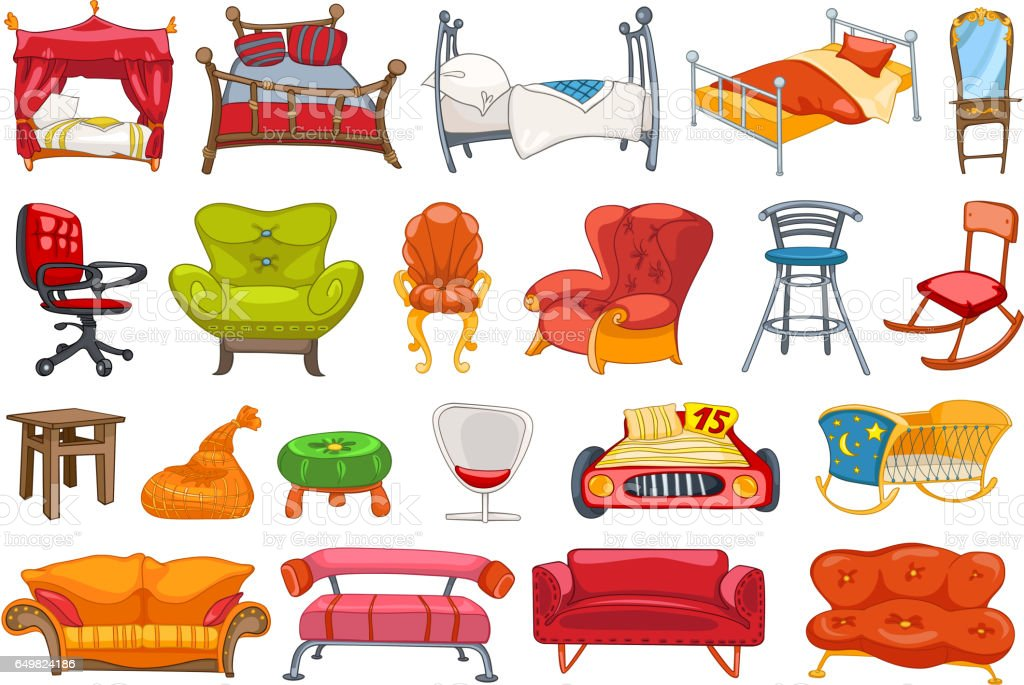 Vector set of furniture illustrations vector art illustration